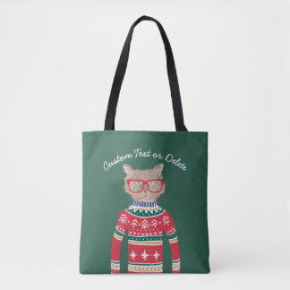 Funny Cat Lover Cat Wearing Ugly Christmas Sweater Tote Bag