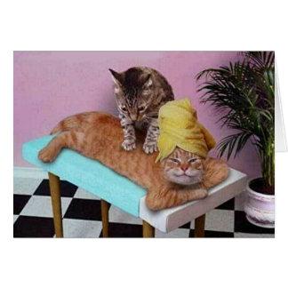 Funny Cat Massage Greeting Card