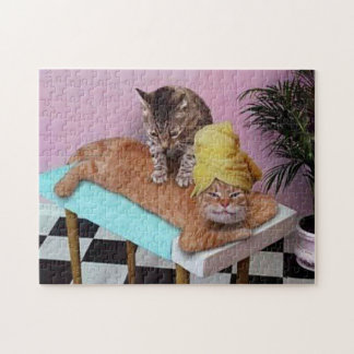 Funny Cat Massage Jigsaw Puzzle