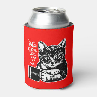 Funny cat motivated by coffee can cooler