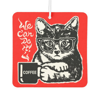 Funny cat motivated by coffee car air freshener