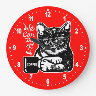 Funny cat motivated by coffee large clock