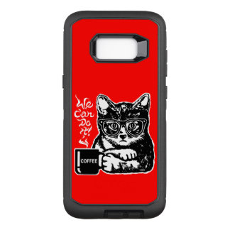 Funny cat motivated by coffee OtterBox defender samsung galaxy s8+ case