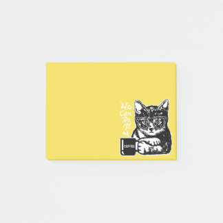 Funny cat motivated by coffee post-it notes