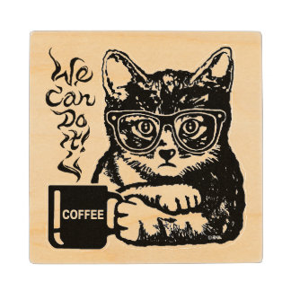 Funny cat motivated by coffee wood coaster