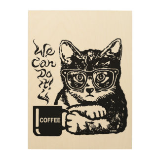 Funny cat motivated by coffee wood wall art
