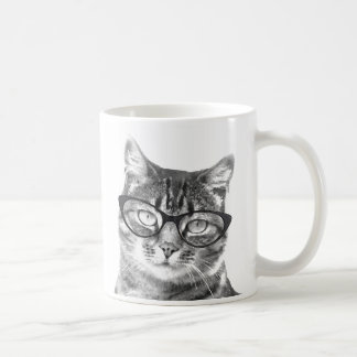 Funny cat mug   Kitten wearing nerdy glasses