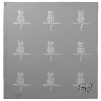 Funny Cat Pattern Add Initials Napkin