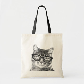 Funny cat photo tote bag | Kitten with glasses