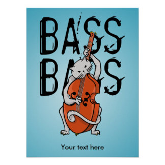 Funny Cat Playing a Double Bass or Cello Poster