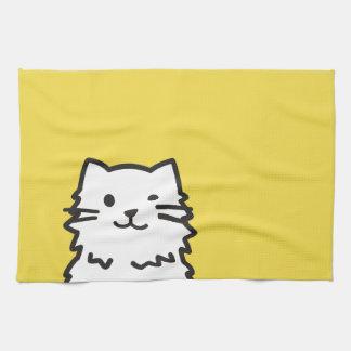 Funny cat portrait tea towel