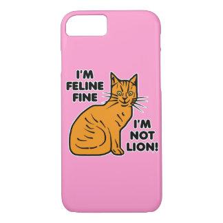 Funny Cat Pun Orange Feline Fine Kitty iPhone 7 Case