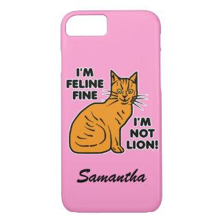 Funny Cat Pun Orange Feline Fine Kitty Personalize iPhone 7 Case