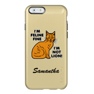 Funny Cat Pun Orange Tabby Personalized Incipio Feather® Shine iPhone 6 Case