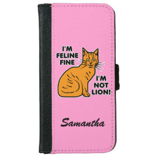 Funny Cat Pun Orange Tabby Personalized iPhone 6 Wallet Case