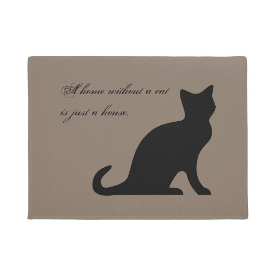 Funny cat quote khaki beige door mat for