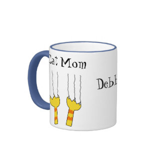 Funny Cat Scratches Cat Mom Playful Personalized Ringer Mug