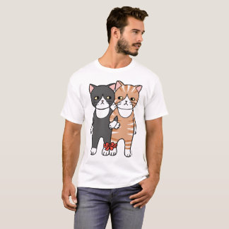 Funny Cat T-shirt Two Cats Graphic Tee Cat lover