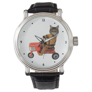 Funny Cat Tractor Wrist Watches