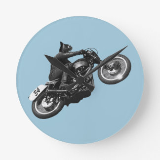 funny cat vintage motorcycle round clock