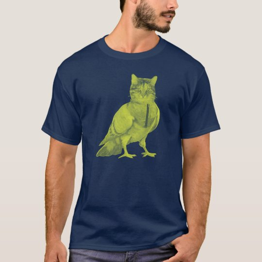 Funny cat wearing a pigeon doing bird design