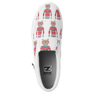 Funny Cat Wearing Glasses, Ugly Christmas Sweater Slip On Shoes