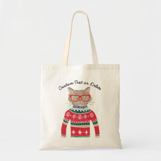 Funny Cat Wearing Ugly Christmas Sweater Custom Tote Bag