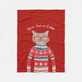 Funny Cat Wearing Ugly Christmas Sweater Red Fleece Blanket