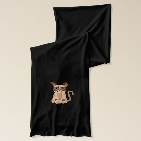 Funny Cat with Cattitude Art Scarf