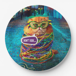 Funny Cat with Colorful Beads at Mardi Gras 9 Inch Paper Plate