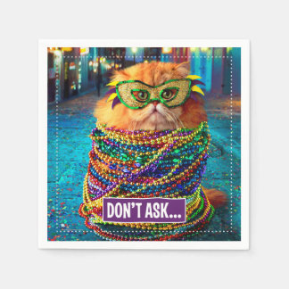 Funny Cat with Colorful Beads at Mardi Gras Disposable Napkin