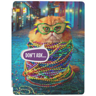 Funny Cat with Colorful Beads at Mardi Gras iPad Cover