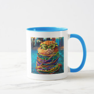 Funny Cat with Colorful Beads at Mardi Gras Mug