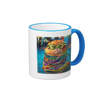Funny Cat with Colorful Beads at Mardi Gras Ringer Mug
