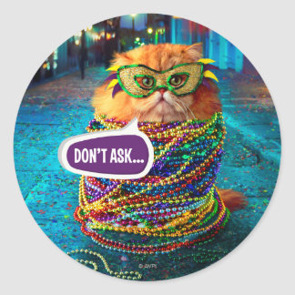 Funny Cat with Colorful Beads at Mardi Gras Round Sticker