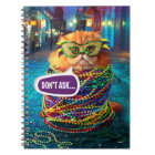 Funny Cat with Colourful Beads at Mardi Gras Notebook