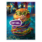 Funny Cat with Colourful Beads at Mardi Gras Postcard