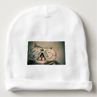 Funny Cat with Glasses Baby Beanie