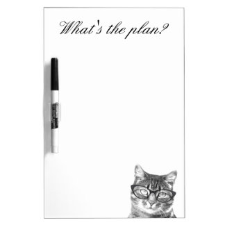 Funny cat with glasses dry erase board