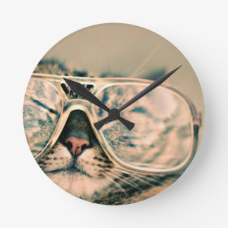 Funny Cat with Glasses Round Clock