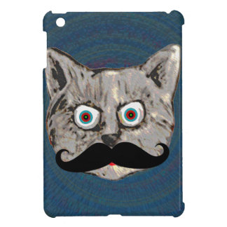 funny cat with moustache cover for the iPad mini