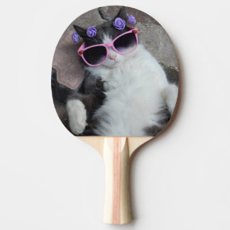 Funny cat with pink glasses ping pong paddle