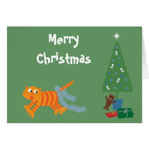 Funny Cat With Tinsel On Tail Green Christmas Card