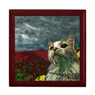 "Funny Cat ""Wizard of Oz"" Baum Humor Tile Gift Box"