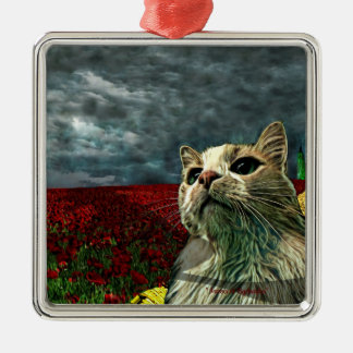 """Funny Cat """"Wizard of Oz"""" Square Pewter Ornament"""