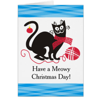Funny cat yarn knitting crochet Christmas Card