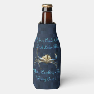 Funny Catching Crabs Logo On Blue, Bottle Cooler