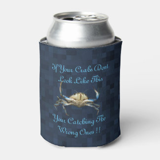 Funny Catching Crabs Logo On Blue Can Cooler