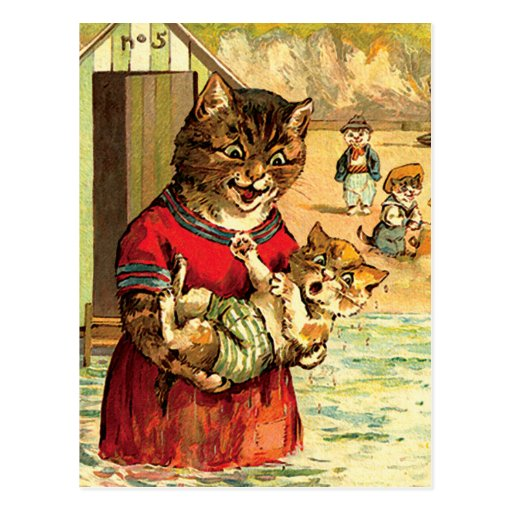 Funny Cats at the Beach - Louis Wain Post Cards