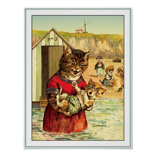 Funny Cats at the Beach - Louis Wain